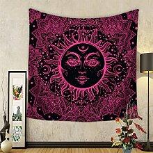 GuDoQi Sonne Mond Tapisserie Wandbehang Wohnheim Dekor Polyester für Schlafzimmer Strand Blatt Tischdecke
