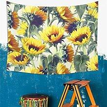 GuDoQi Sonnenblume Tapisserie Wandbehang Dorm Decor Polyester für Schlafzimmer Strandtuch Tischdecke