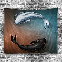 GuDoQi Tapisserie Koi Fisch Tapisserie Wandteppich