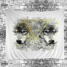 GuDoQi Tapisserie Wolf Tier Tapisserie Wandteppich
