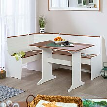 Günstige Sitzecke mit Eckbank und Tisch Weiß und
