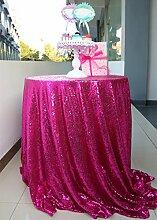 Günstigster Preis Ever 180cm rund Sparkly Fuchsia Pailletten Tischdecke für Party/Hochzei