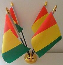 Guinea guineische 4Flagge Desktop Tisch mit Gold Boden