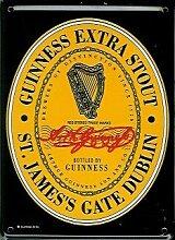 Guinness Mini-Blechschild Blechpostkarte - Label Guinness - 8x11cm Nostalgieschild Retro Schild Metal tin sign