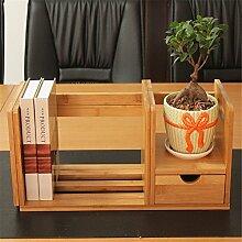 GUJJ Desktop Bücherregal Holz Tisch Blume Bambus Regal Office Storage Rack, B