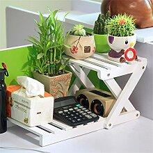 GUJJ Echtes Holz Schreibtisch Blume Ecke Regal Regal, B