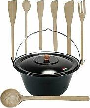 Gulaschkessel mit Deckel 15 Liter und Kochlöffel