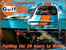 Gulf Prosche 917K Rennen Auto le herren Metall/Stahl Wandschild - 20 x 30 cm