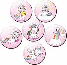 GUMA Magneticum 2562 Kühlschrankmagnete Einhorn 6er Magnet Set Tiere Ø 50 mm Rosa Magnete Kinder Pferde mit Motiv Einhörner Regenbogen