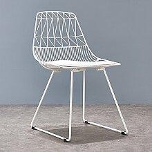 GUO SHOP Einfacher Schmiedeeisen-Stuhl-kreativer Ausgangsrestaurant-Kaffee-Stuhl-Freizeit-Stuhl, zum des Stuhl-Sitzes 48CM hoch zu besprechen Guter Stuhl ( Farbe : Weiß )