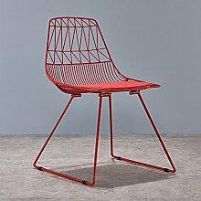 GUO SHOP Einfacher Schmiedeeisen-Stuhl-kreativer Ausgangsrestaurant-Kaffee-Stuhl-Freizeit-Stuhl, zum des Stuhl-Sitzes 48CM hoch zu besprechen Guter Stuhl ( Farbe : Rot )