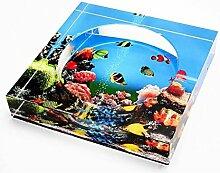 GUO YUN Mode Dekoration 2D Ozean-quadratischer Aschenbecher-Art- und Weisekreativer Geschenk-Aschenbecher-Hauptlebensraum-Dekoration ( größe : 20*20*3.8cm )