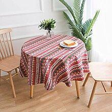 GUOAI Runde Tischdecke Aus Baumwolle Und Leinen