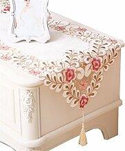 GUOCAIRONG® Europäische Stil Tischläufer Tuch Esstisch Couchtisch Tischläufer TV Schrank Tischdecke Pink , 40*145cm