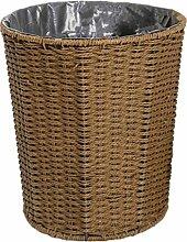 GUOCAIRONG Müll einfach kreativ zu Hause keine Abdeckung Rattan Müll große Hotel Wohnzimmer Küche Müll Büro Mülleimer Mülleimer