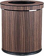GUOCAIRONG Mülleimer zu Hause Holzimitat groß bedeckt Müll Doppel kreativ Leder einfach retro Schlafzimmer Wohnzimmer Lagerfässer Trommeln Müll 10L