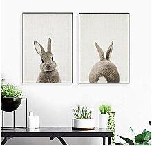 GUOCHEN Wandkunst, niedliches Kaninchen nordische