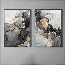 GUOCHEN Wandkunst, Schwarzgold Marmor
