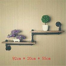 GUOPI Antike Wasserleitung Wand oberen Regal Wohnzimmer Wand Blume Regal aus massivem Holz innovative Regale, C