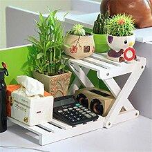 GUOPI Qualität Massivholz Schreibtisch Oberfläche kleine Blume Regal Lagerregal, 21 * 21 * 42 cm, B