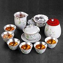 GuoQiang Zhou Silberne Teekanne 10er Set