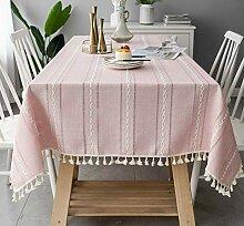 Guoyixiang Home Leinen Tischdecke Rosa Quadratisch