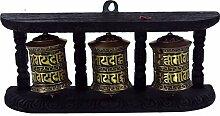 Guru-Shop 3`er Gebetsmühlen mit Wandhalterung,