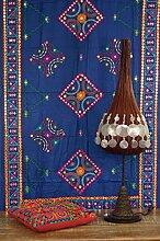 Guru-Shop Besticktes Tuch mit Spiegelchen, Wandtuch, Pareo - Blau, Baumwolle, 210x105 cm, Bettüberwurf, Sofa Überwurf