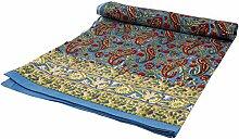 Guru-Shop Blockdruck Tagesdecke, Bett & Sofaüberwurf, Handgearbeiteter Wandbehang, Wandtuch - Blau/weinrot Paisley, Baumwolle, Größe: Single 150x200 cm, Heimtextilien