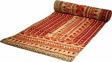 Guru-Shop Blockdruck Tagesdecke, Bett & Sofaüberwurf, Handgearbeiteter Wandbehang, Wandtuch - rot Retro, Baumwolle, Größe: Single 150x200 cm, Heimtextilien