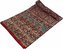Guru-Shop Blockdruck Tagesdecke, Bett & Sofaüberwurf, Handgearbeiteter Wandbehang, Wandtuch - Rot/blau Traditionell, Baumwolle, Größe: Single 150x200 cm, Heimtextilien