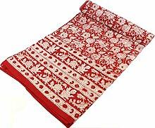 Guru-Shop Blockdruck Tagesdecke, Bett & Sofaüberwurf, Handgearbeiteter Wandbehang, Wandtuch - rot Blumen Ornament, Baumwolle, Größe: Single 150x200 cm, Heimtextilien