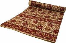 Guru-Shop Blockdruck Tagesdecke, Bett & Sofaüberwurf, Handgearbeiteter Wandbehang, Wandtuch - Rot/braun Muster, Baumwolle, Größe: Double 225x275 cm, Heimtextilien
