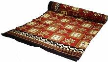Guru-Shop Blockdruck Tagesdecke, Bett & Sofaüberwurf, Handgearbeiteter Wandbehang, Wandtuch- Rot/cream Schidkröte, Baumwolle, Größe: Double 225x275 cm, Heimtextilien