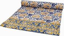 Guru-Shop Blockdruck Tagesdecke, Bett & Sofaüberwurf, Handgearbeiteter Wandbehang, Wandtuch- Blau/gelb Blumen, Baumwolle, Größe: Single 150x200 cm, Heimtextilien