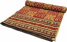 Guru-Shop Blockdruck Tagesdecke, Bett & Sofaüberwurf, Handgearbeiteter Wandbehang, Wandtuch - Rot/gelb, Baumwolle, Größe: Single 150x200 cm, Heimtextilien