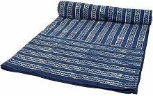Guru-Shop Blockdruck Tagesdecke, Bett & Sofaüberwurf, Handgearbeiteter Wandbehang, Wandtuch - Indigo Retro, Blau, Baumwolle, Größe: Double 225x275 cm, Heimtextilien