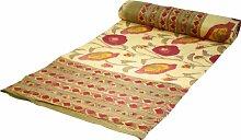 Guru-Shop Blockdruck Tagesdecke, Bett & Sofaüberwurf, Handgearbeiteter Wandbehang, Wandtuch - Gelb/rot Blumen, Baumwolle, Größe: Single 150x200 cm, Heimtextilien