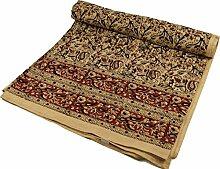 Guru-Shop Blockdruck Tagesdecke, Bett & Sofaüberwurf, Handgearbeiteter Wandbehang, Wandtuch - Braun Ornament 1, Mehrfarbig, Baumwolle, Größe: Double 225x275 cm, Heimtextilien