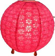 Guru-Shop Corona Round Runde Lokta Papier Stehlampe 25 cm, Pink, Deckenleuchte Kugelförmig