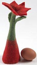 Guru-Shop Filz Eierwärmer Tischdeko `Blume`, Rot,