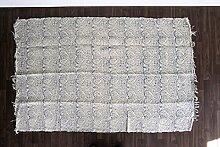 Guru-Shop Hangewebter Indischer Flickenteppich mit Traditionellem Druck - Blau 180x110 cm, Nr. 2, Baumwolle, Teppiche, Bodenmatten