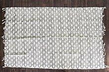 Guru-Shop Hangewebter Indischer Flickenteppich mit Traditionellem Druck - Schwarz 180x110 cm, Nr. 10, Baumwolle, Teppiche, Bodenmatten
