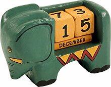 Guru-Shop Holz Kalender Elefant, 7x0x4 cm,