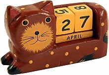 Guru-Shop Holz Kalender Katze, 7x11x3 cm,