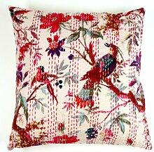 Guru-Shop Kissenhülle mit Ethno Muster `Paradies` - Weiß, Baumwolle, 40x40 cm, Zierkissen, Dekokissen, Sofakissen