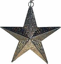 Guru-Shop Orientalische Metall Leuchte im Stern Design als Decken Oder Flurlampe Verwendbar, Eisen, 42x40x40 cm, Orientalisches Kunsthandwerk