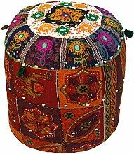 Guru-Shop Rajasthan Pouf, Sitzkissen, Rot,