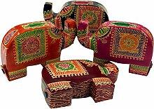 Guru-Shop Spardose aus Leder Elefant, Lila, Farbe: