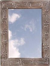 Guru-Shop Spiegel Antikweiß Ethno, 80x60x3 cm,